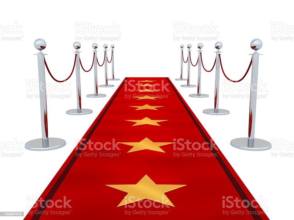 Vector image of a red carpet with stars stock photo