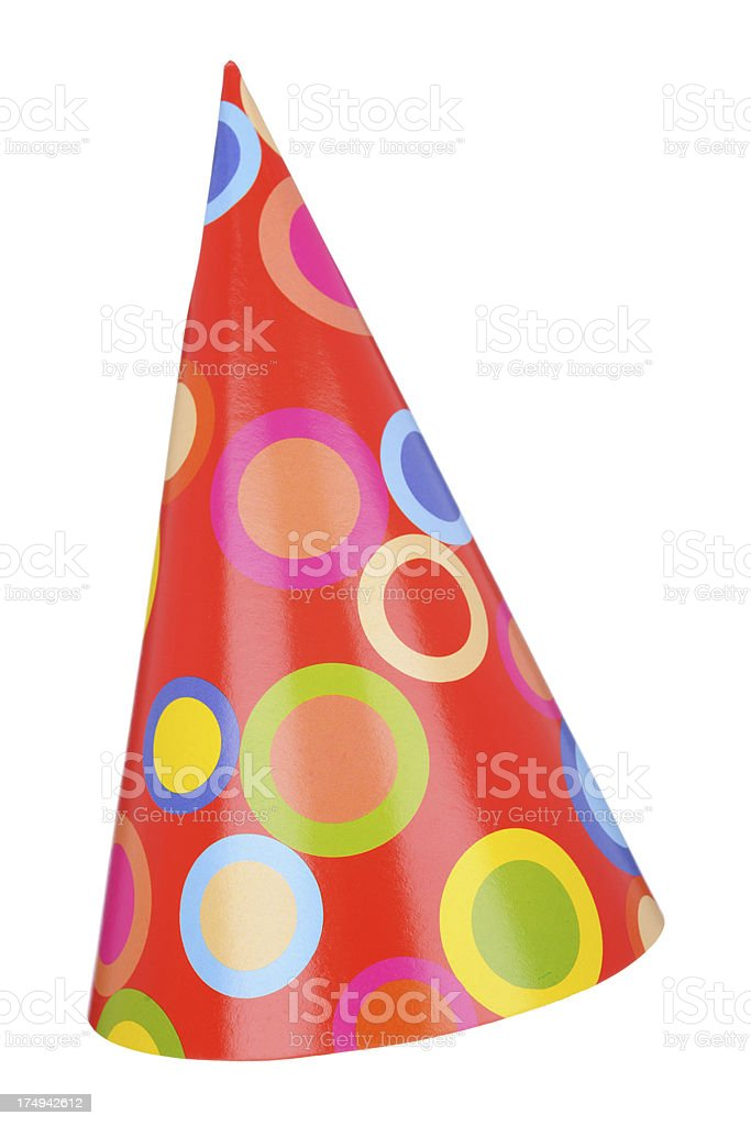Vector image of a red, fun party hat royalty-free stock photo