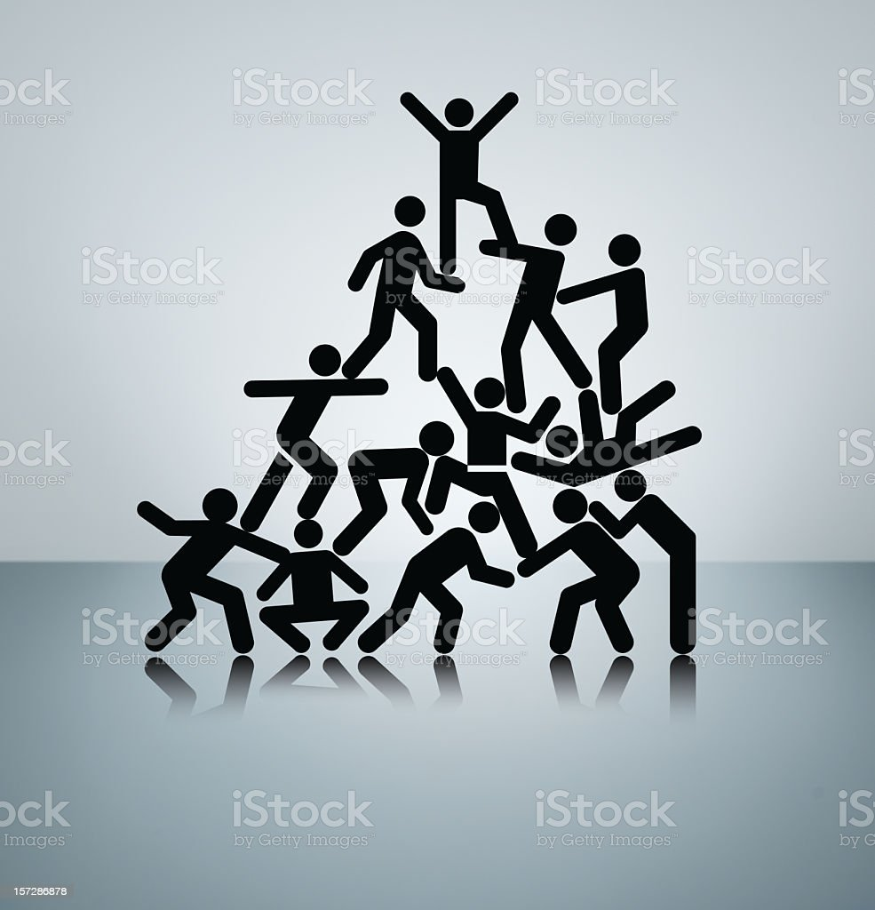 Vector image of people working together to triumph stock photo