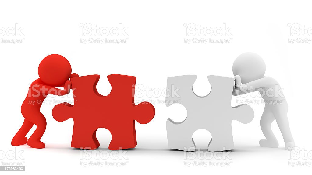 A vector image of two people pushing puzzle pieces together royalty-free stock photo
