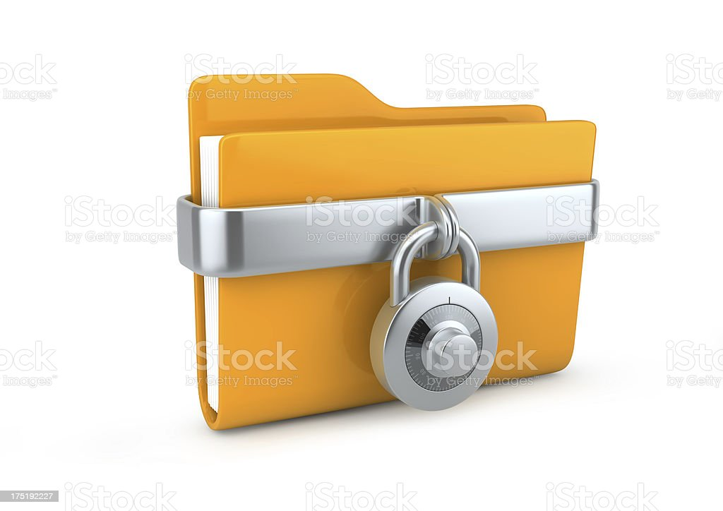 Vector of a file folder with a combination lock on it stock photo