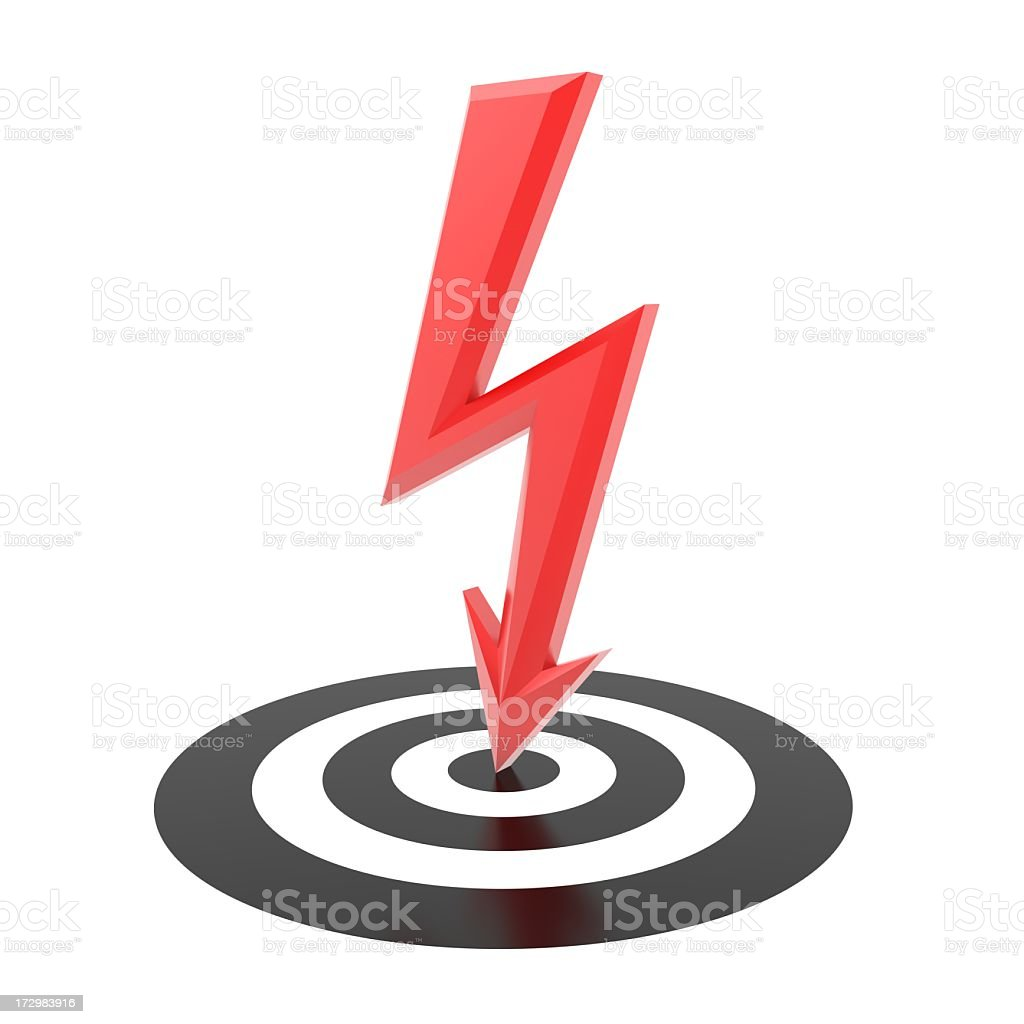 A vector of a red lightning bolt going into a black target royalty-free stock photo