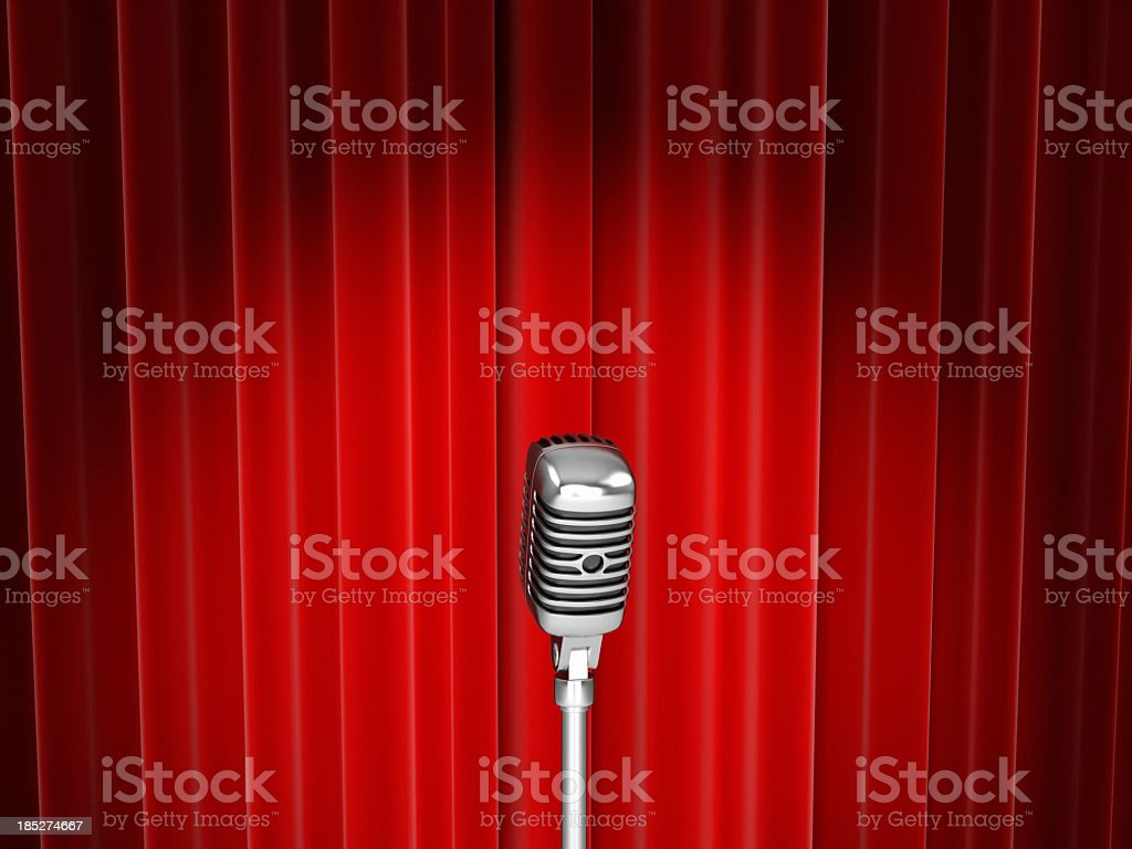 Vector of microphone with spotlight against red curtain royalty-free stock photo