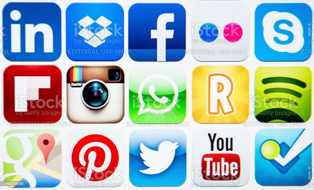 Vector set of social media icons royalty-free stock photo