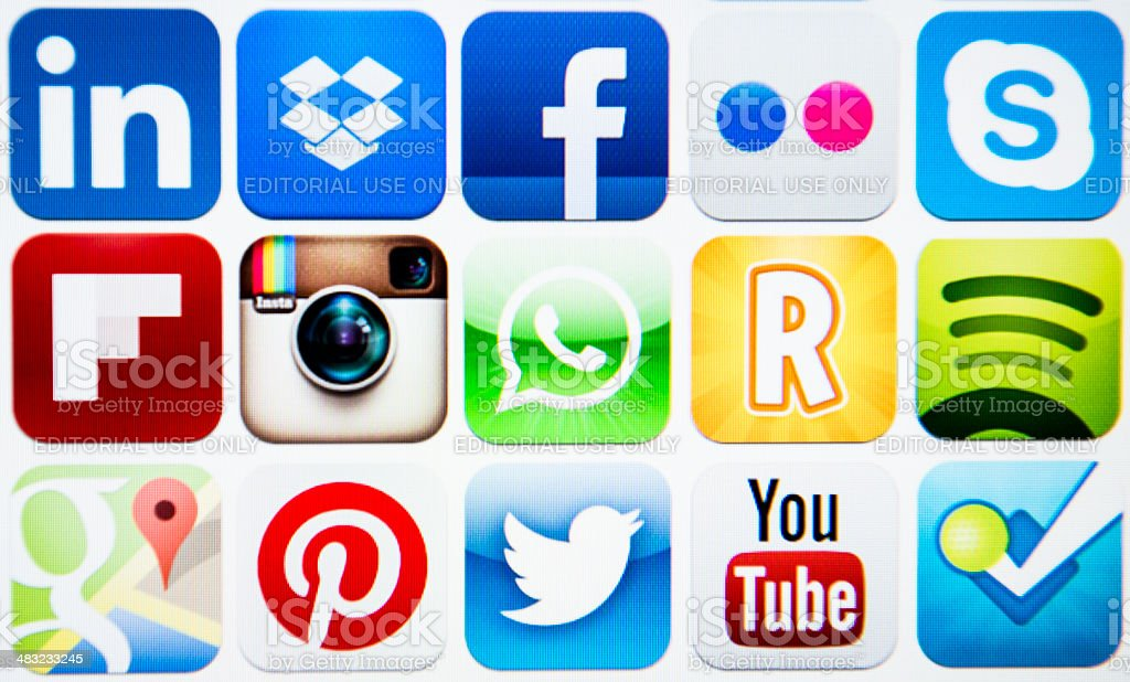 Vector set of social media icons stock photo