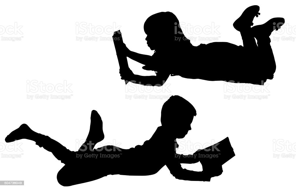 Little Girl Reading Silhouettes Pictures, Images and Stock Photos ... Children Reading Silhouette