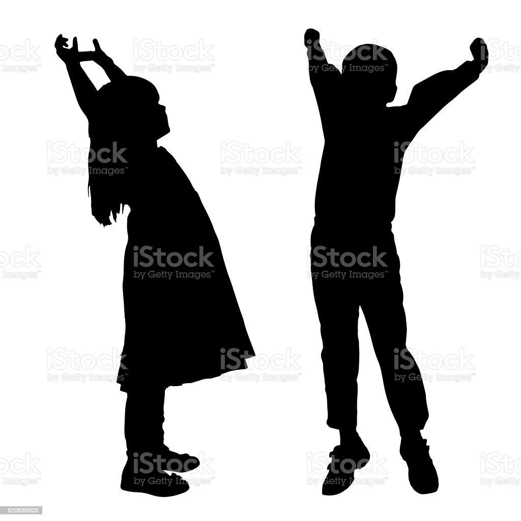 vector silhouette of children. stock photo