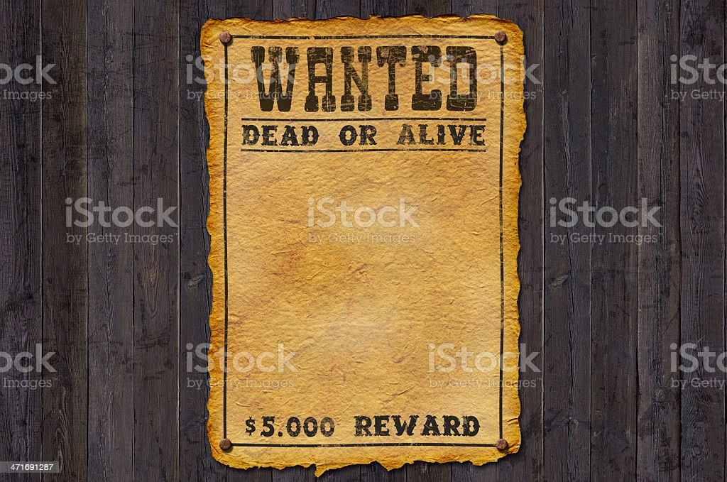 Vector vintage wanted dead or alive poster royalty-free stock photo
