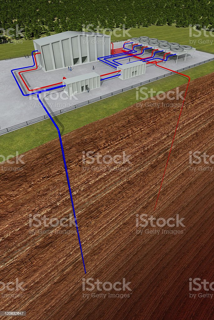 Vectored image of where pipes lead from building to ground stock photo