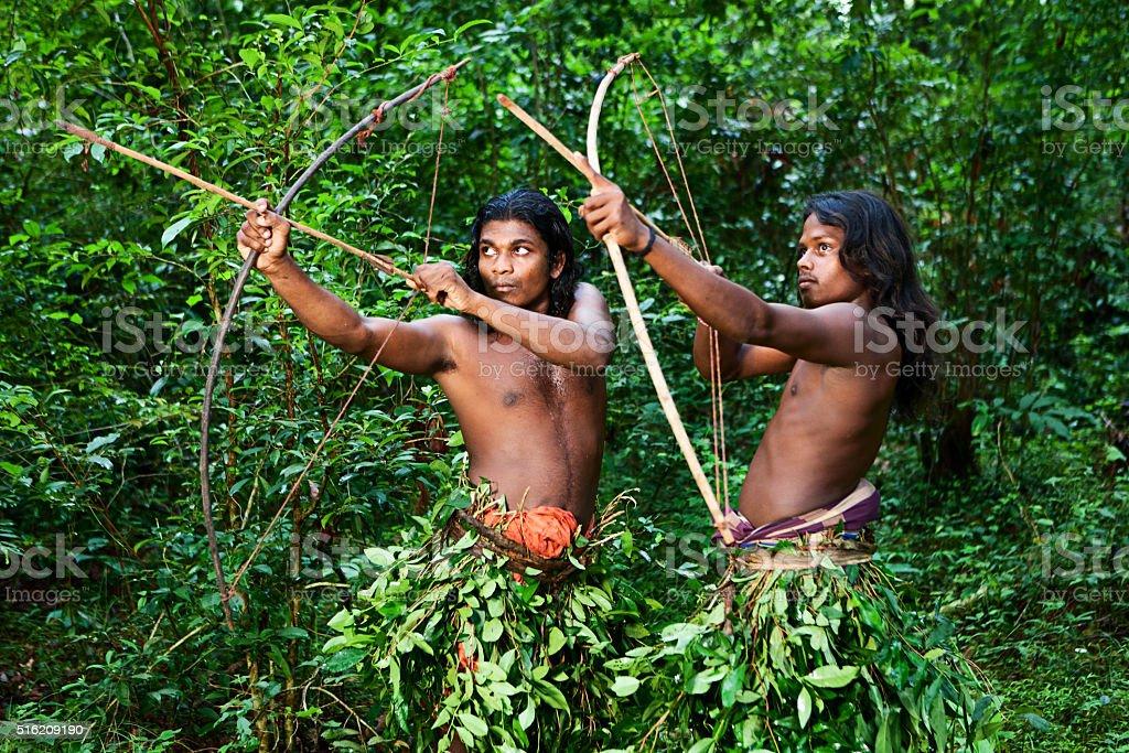 Vedda people - forest people hunting on Sri Lanka stock photo