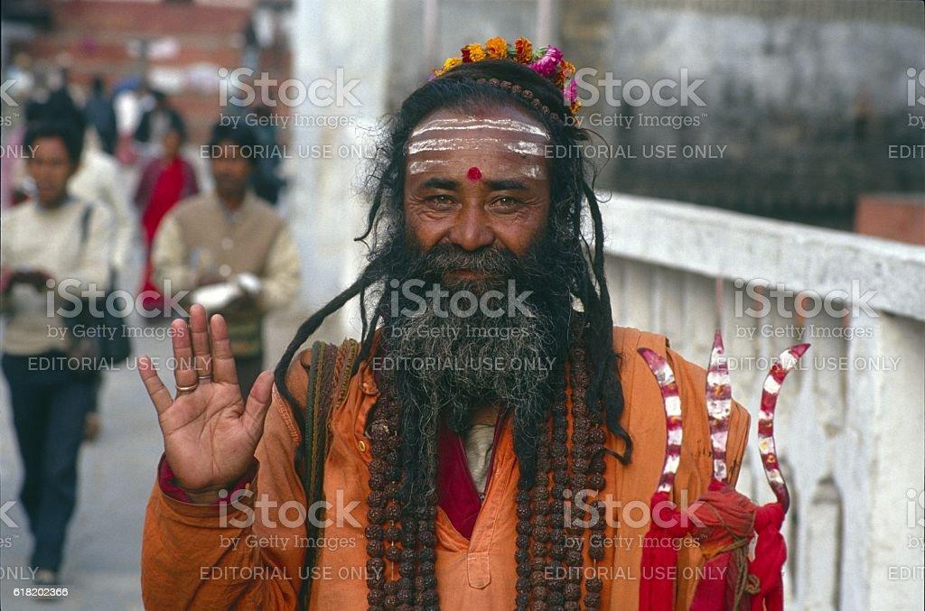 Vedic Brahmane on pilgrimage stock photo