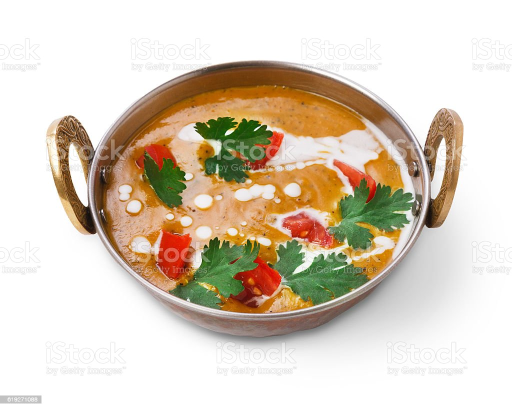 Vegan and vegetarian indian cuisine dish, spicy lentil dahl soup stock photo