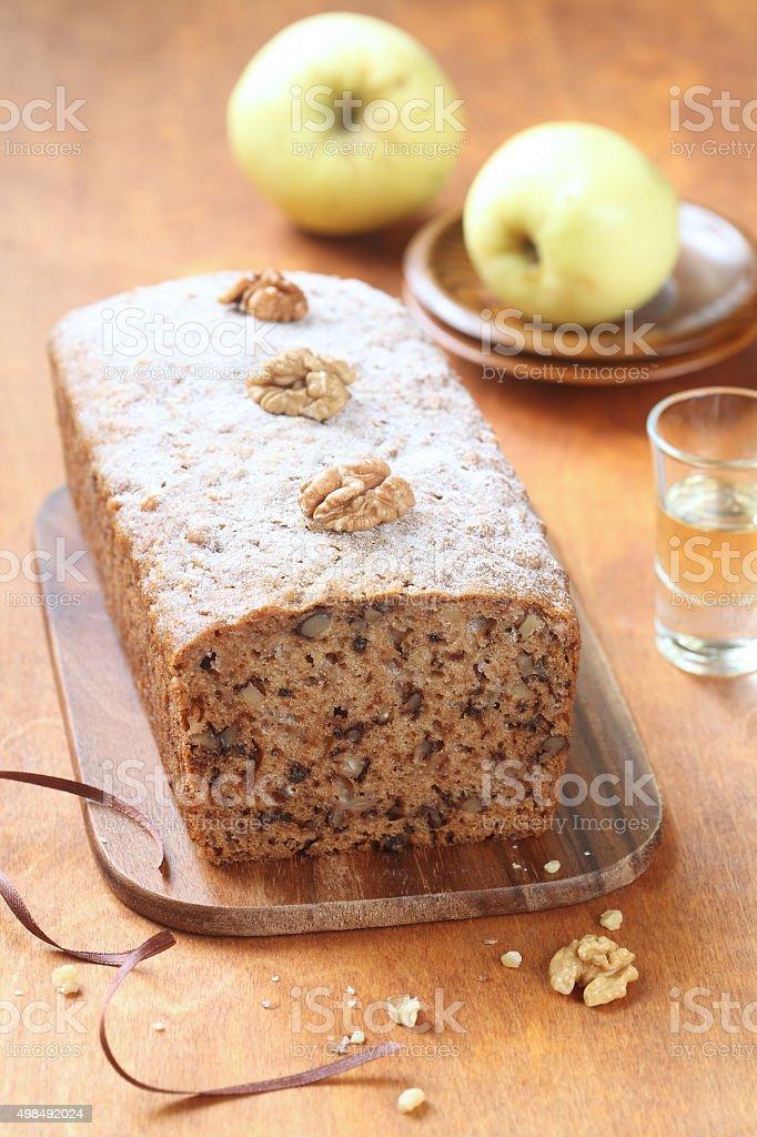 Vegan Apple Walnut Spice Cake stock photo