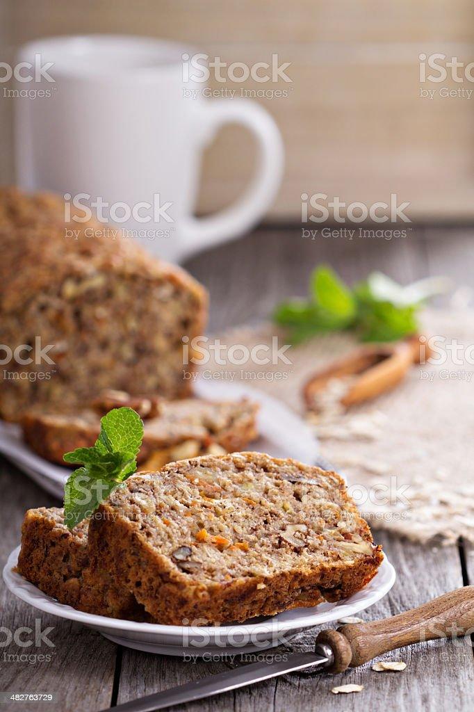 Vegan banana carrot bread stock photo