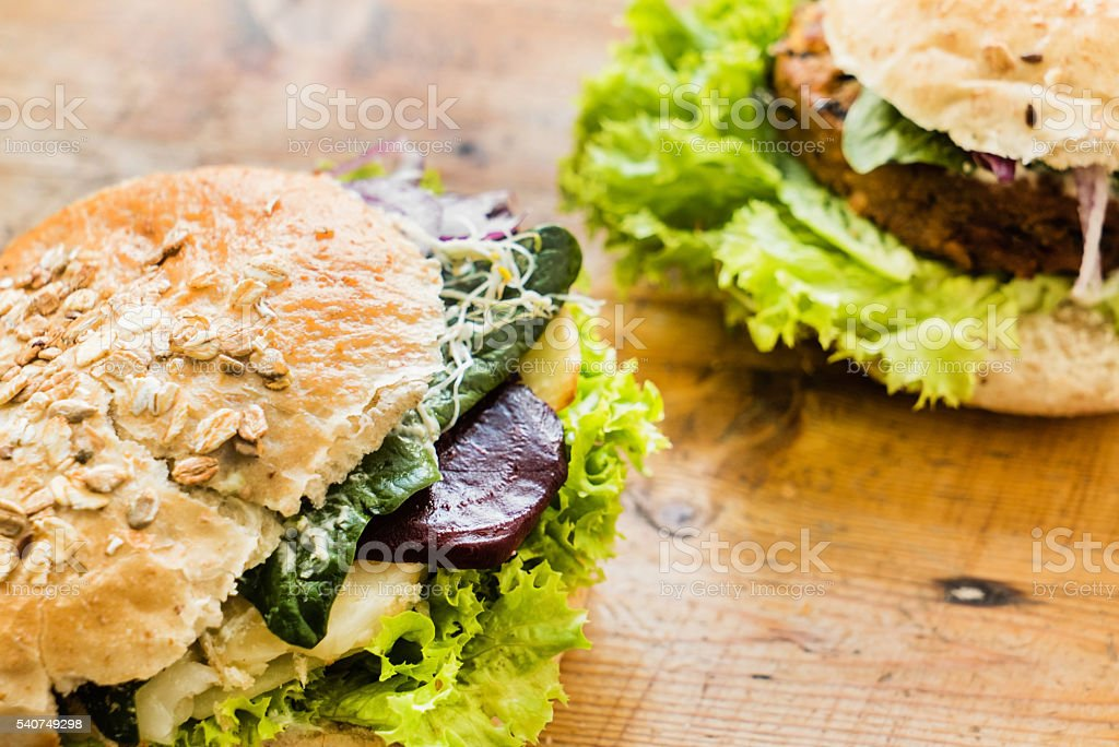 vegan burger stock photo