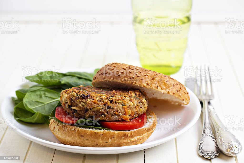 Vegan burger with spinach royalty-free stock photo