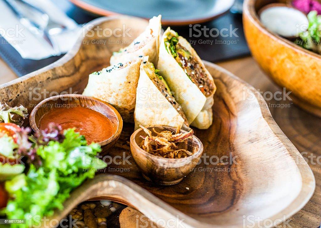 Vegan burrito stock photo