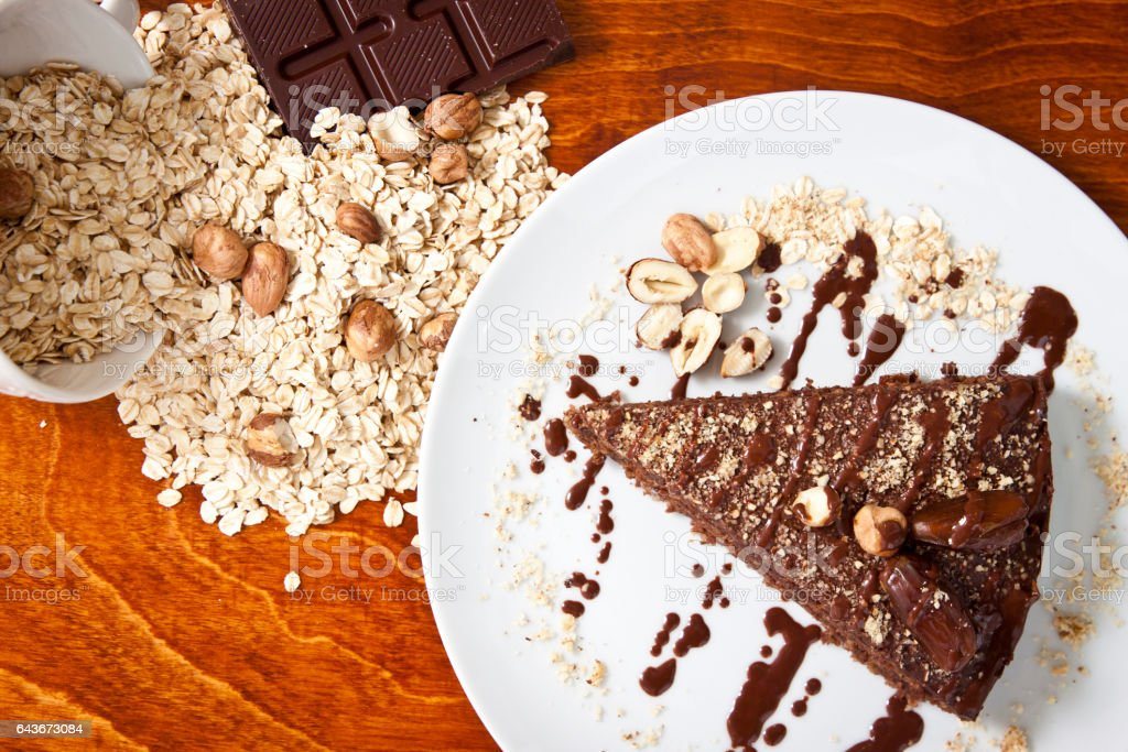 Vegan chocolate cake stock photo