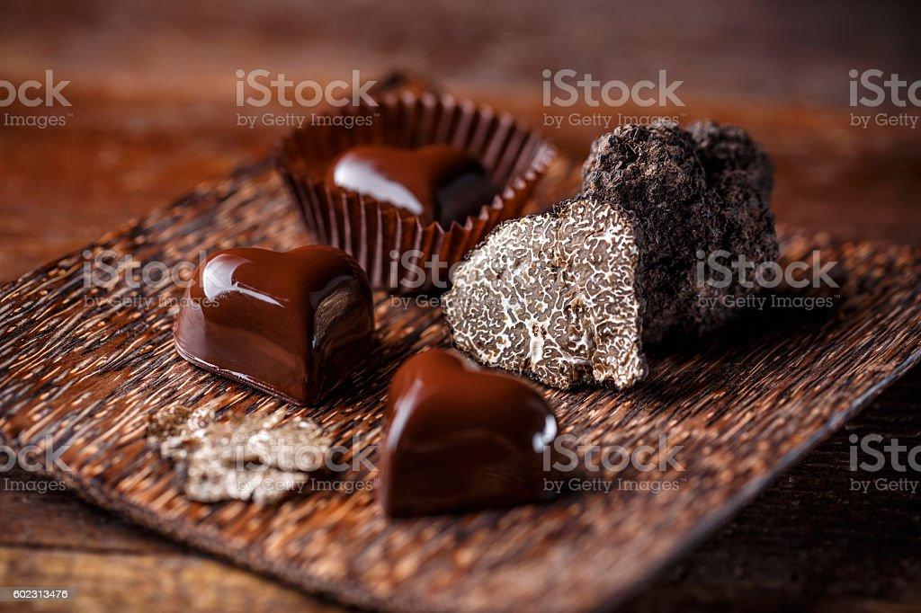 Vegan chocolate truffles stock photo