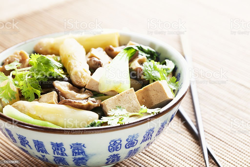 vegan course with tofu and vegetable, asian style stock photo