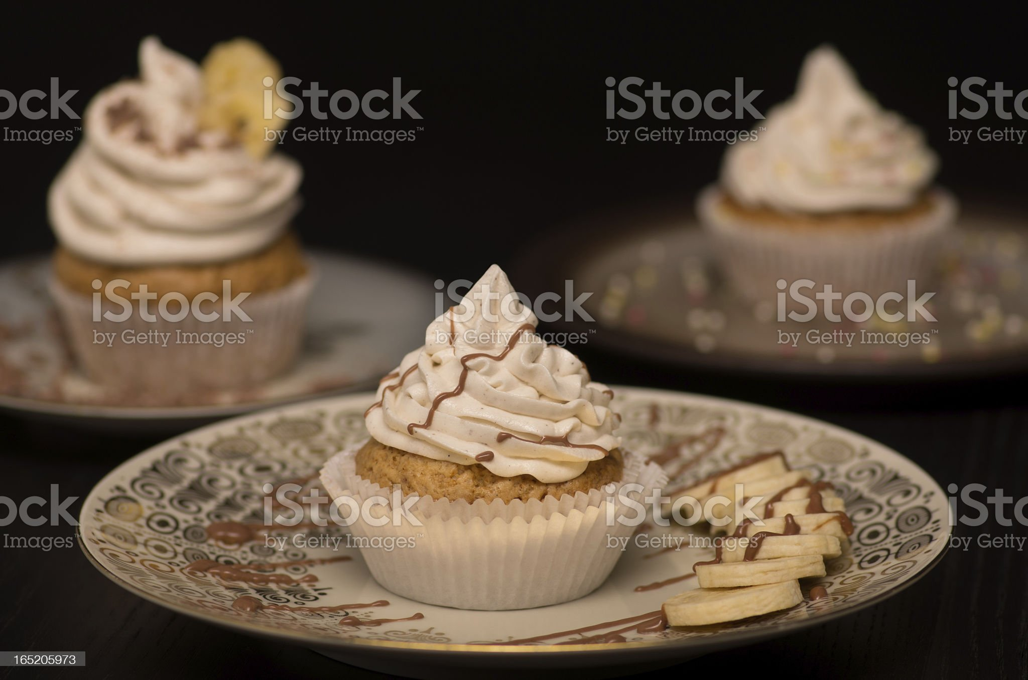 Vegan Cupcakes with different toppings. royalty-free stock photo