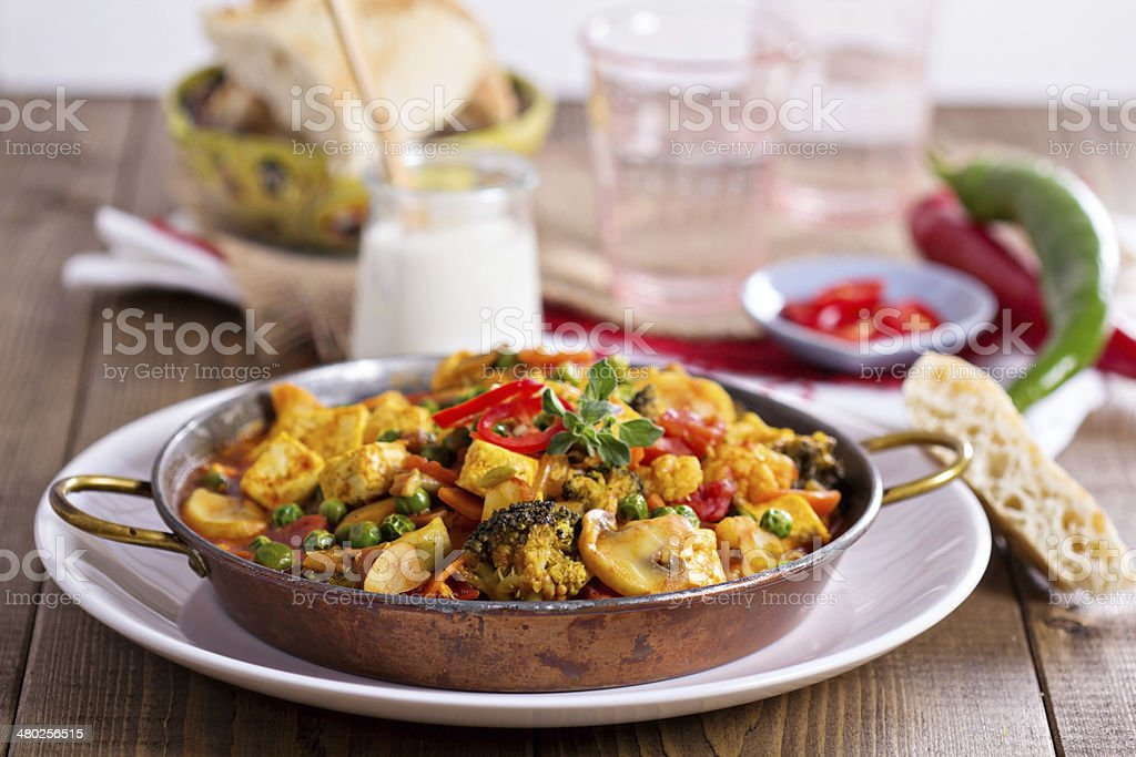 Vegan curry with tofu and vegetables stock photo