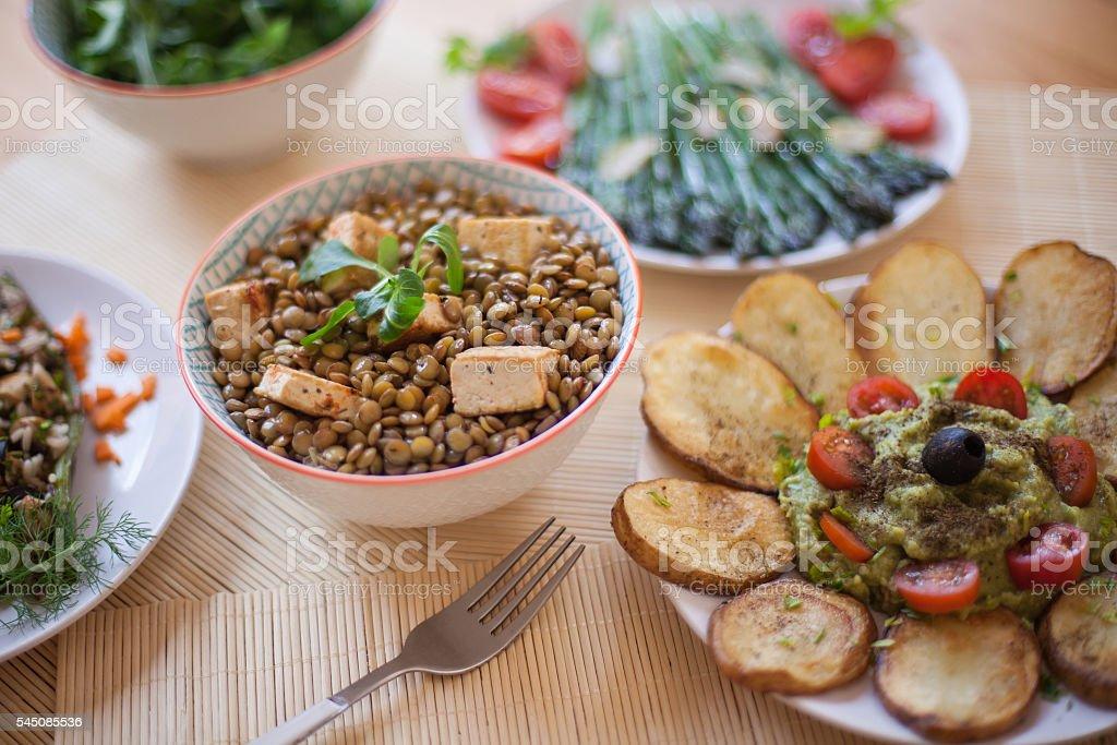 Vegan dinner stock photo