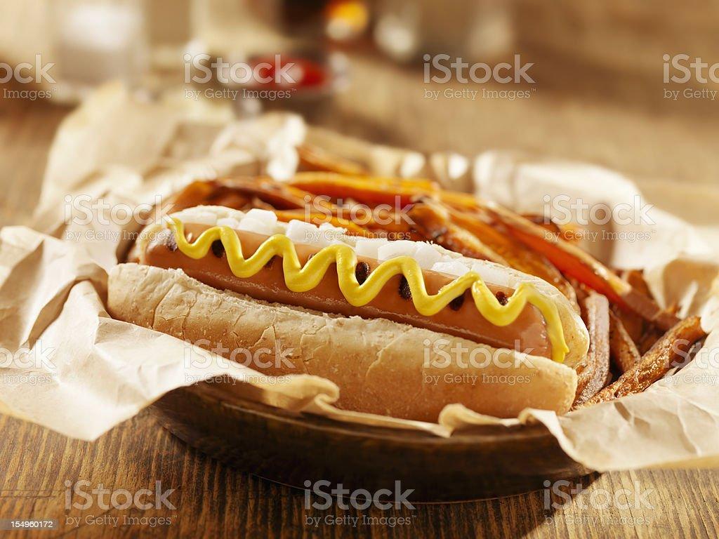 Vegan Hotdog with Sweet Potato Fries stock photo