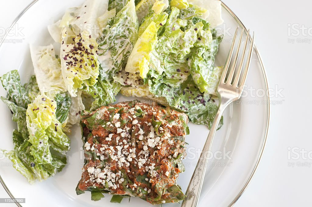 Vegan Lasagna and Caesar Salad royalty-free stock photo