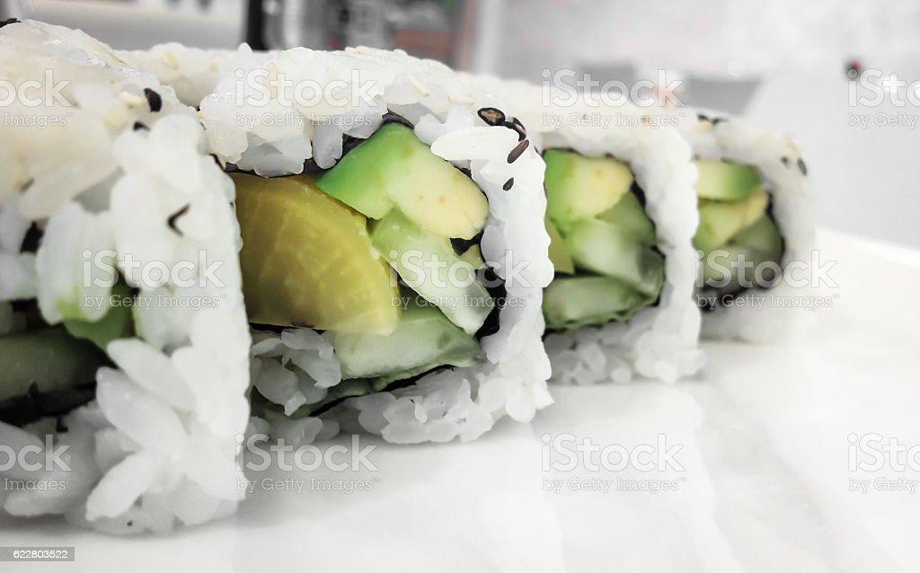 Vegan maki rolls stock photo