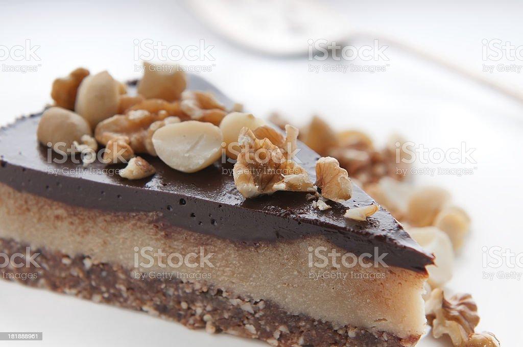 Vegan & Raw Coconut Chocolate Nanaimo Pie stock photo