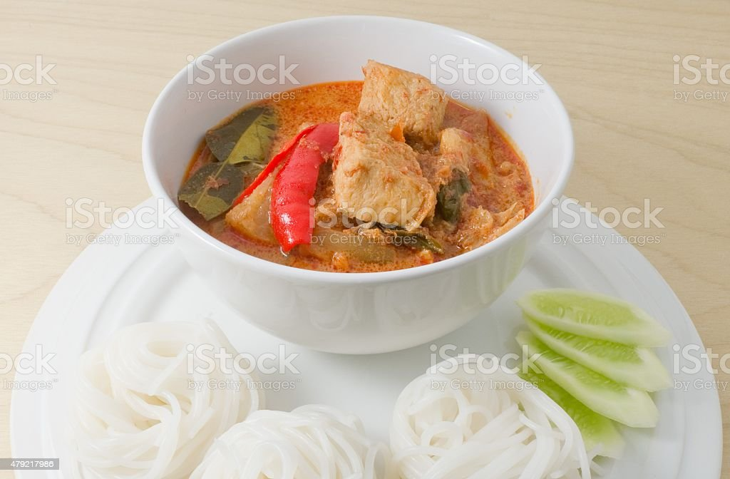 Vegan Red Curry with Thai Rice Vermicelli stock photo