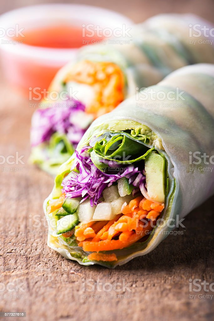 vegan rice paper spring rolls with veggies stock photo