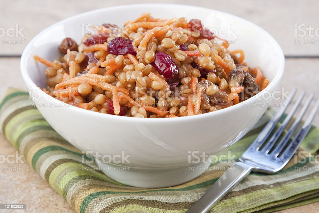 Vegan Salad - Wheat Berry with Cranberries and Nuts royalty-free stock photo