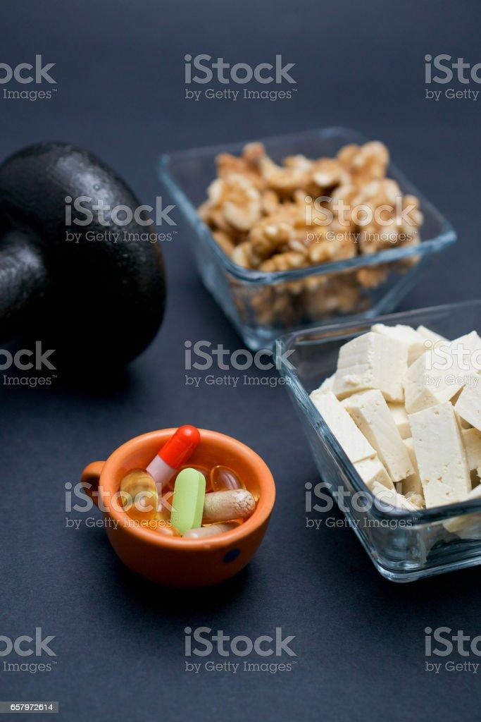 Vegan snacks and weight stock photo