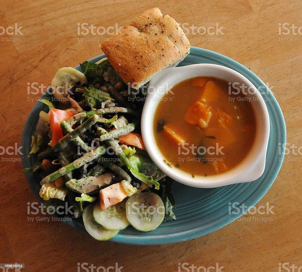 Vegan Soup and Salad Above stock photo