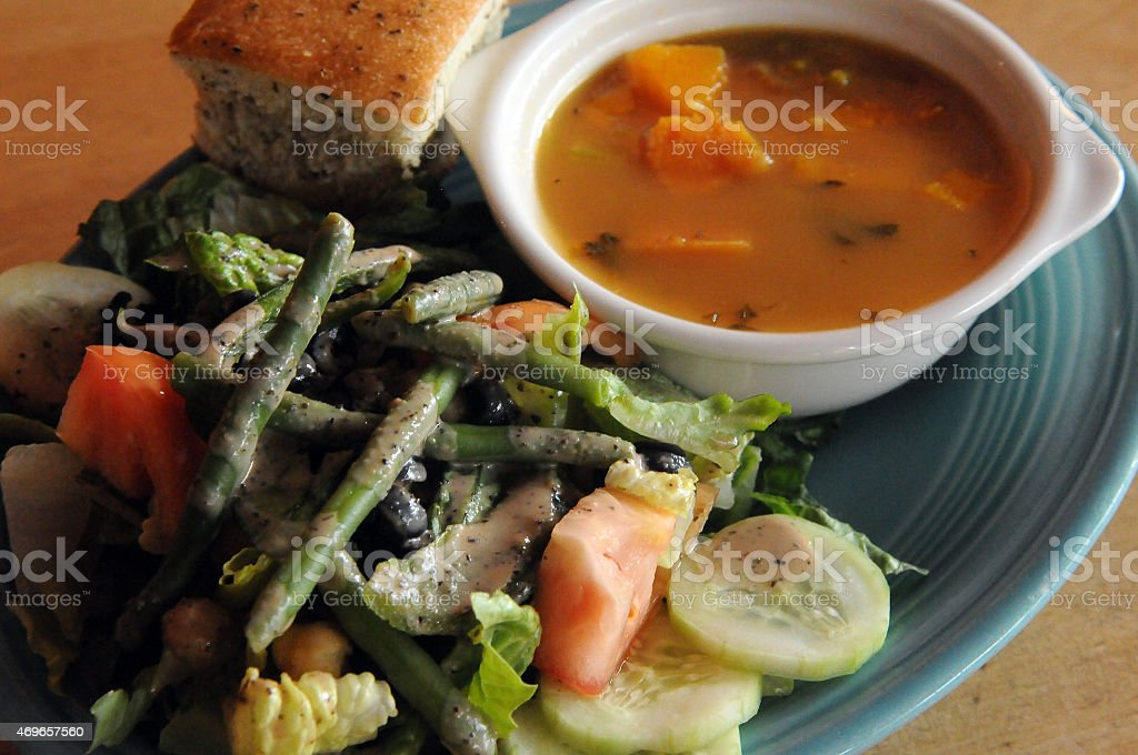 Vegan Soup and Salad Anticipation stock photo