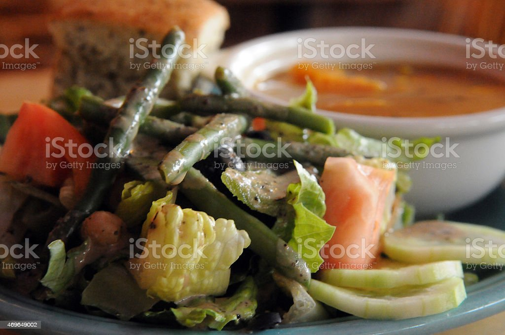 Vegan Soup and Salad Awaits stock photo