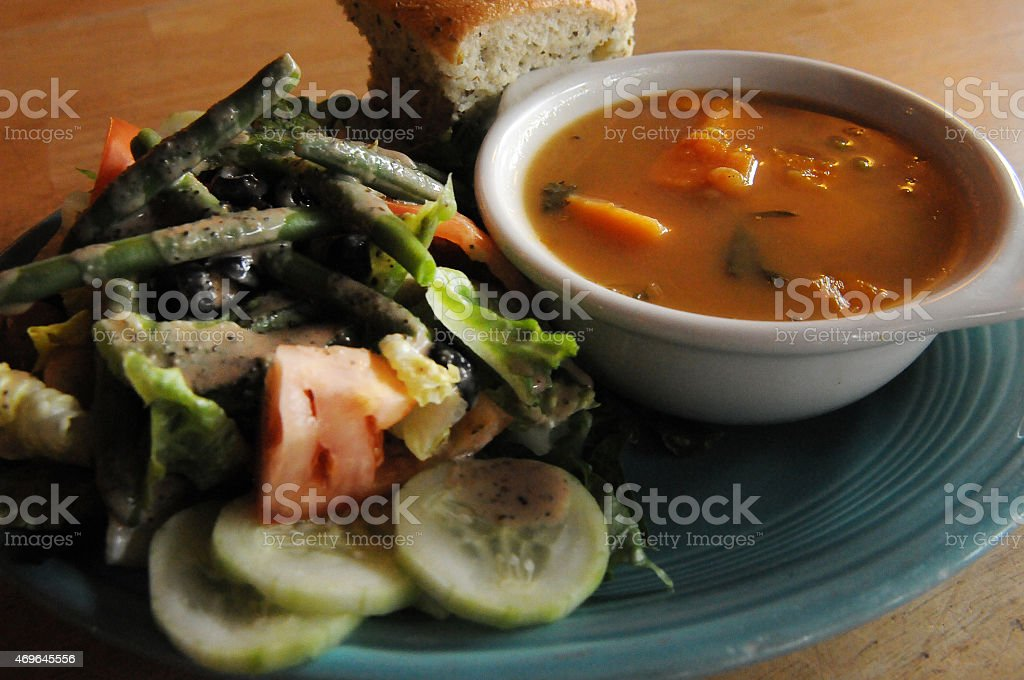 Vegan Soup and Salad Beginning stock photo