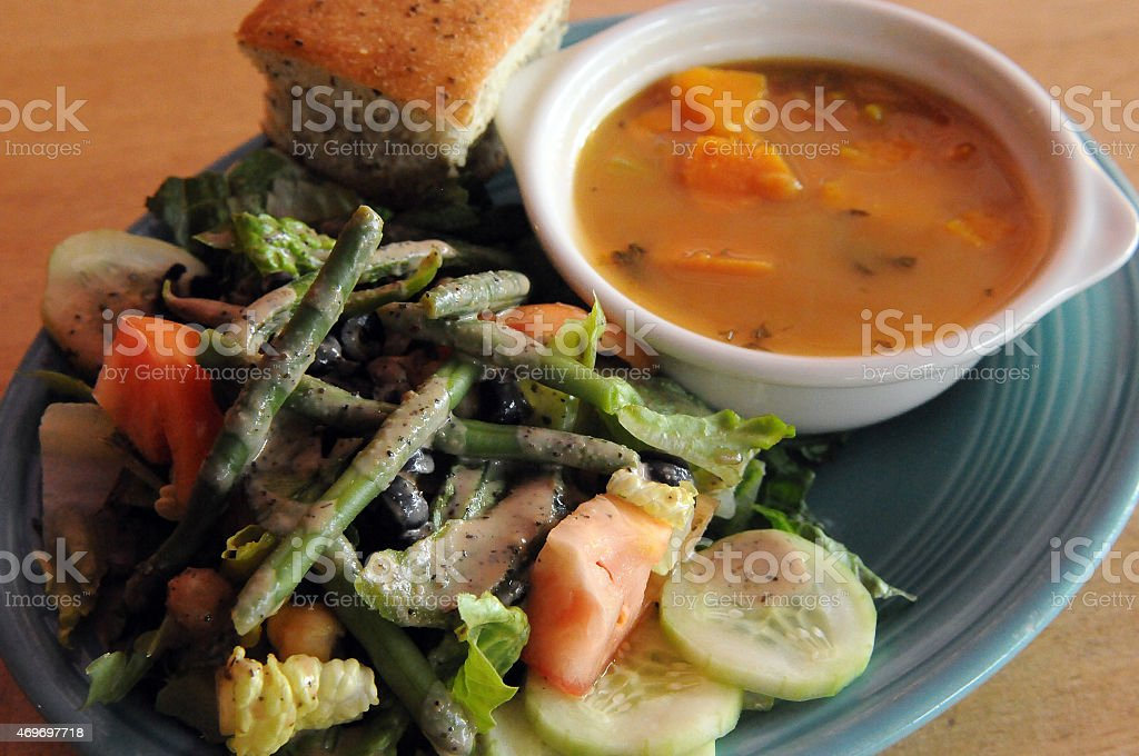 Vegan Soup and Salad Delight stock photo