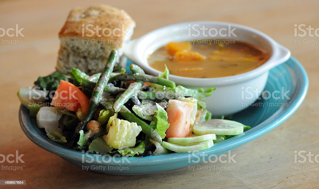 Vegan Soup and Salad Isolated stock photo