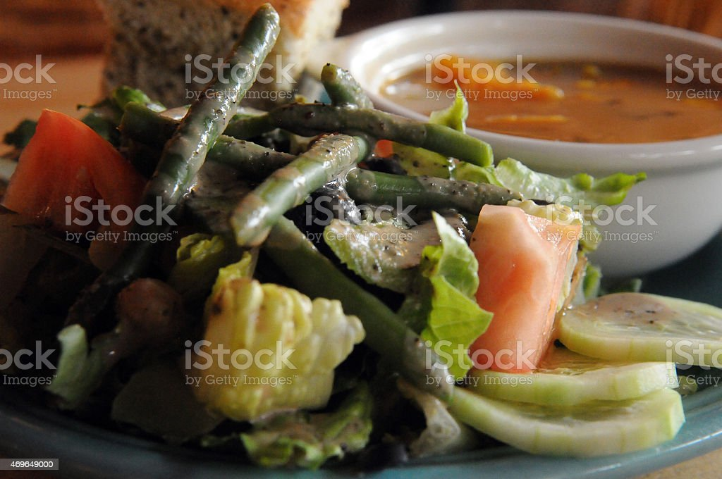 Vegan Soup and Salad Served stock photo