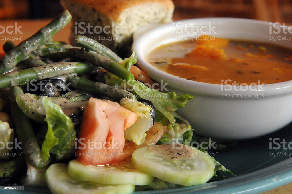 Vegan Soup and Salad Up-Close stock photo