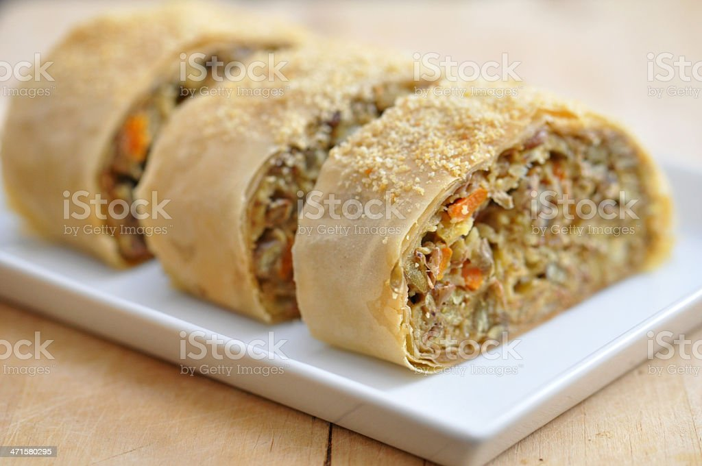 Vegan Strudel with lentils royalty-free stock photo