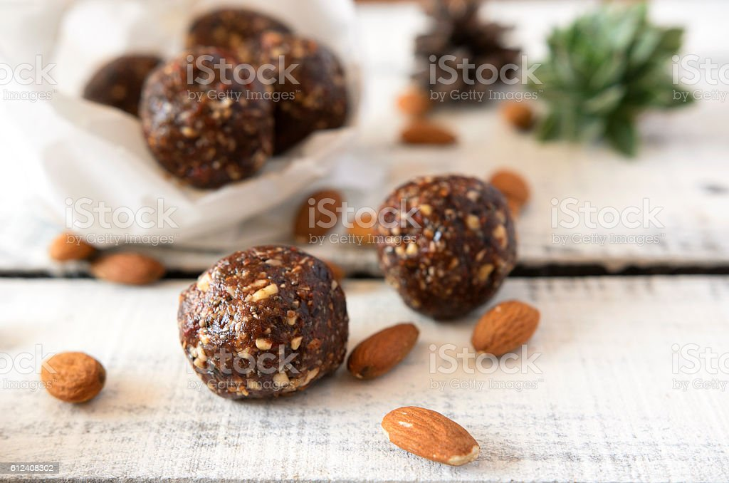 Vegan sweet balls food on table stock photo