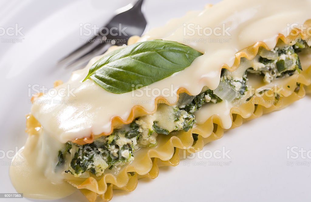 Vegan Tofu and Spinach Lasagna with White Sauce royalty-free stock photo