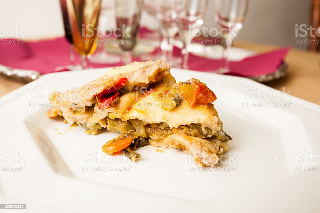 Vegan vegetable pie. stock photo