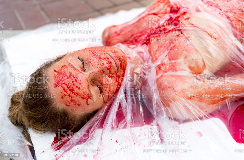 Vegan vegetarian meat equals killing protest stock photo