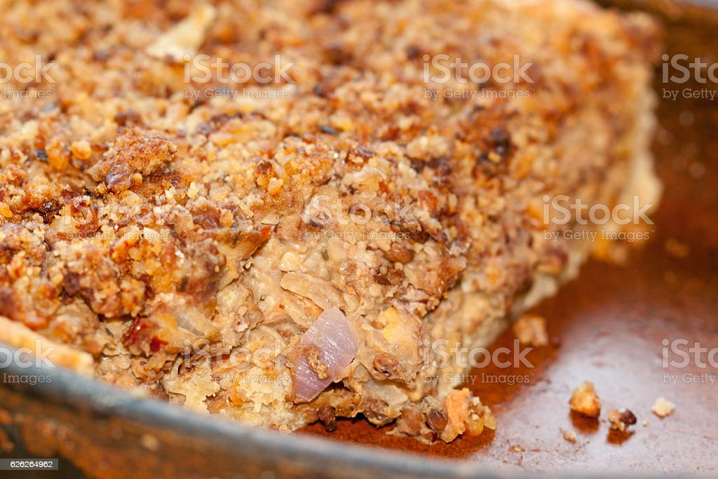 vegan, vegetarian mixed vegetable and pulse crumble top pie stock photo