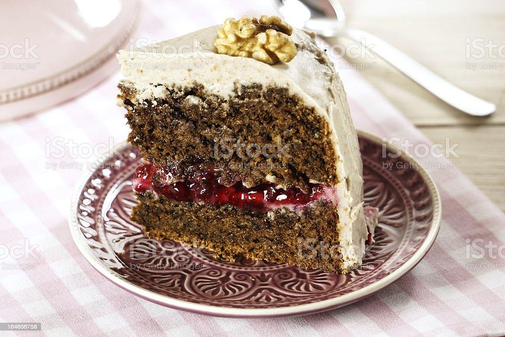 Vegan Walnut Lingonberry Cake with Cashew nut Frosting royalty-free stock photo